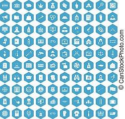 100 criminal offence icons set blue - 100 criminal offence...