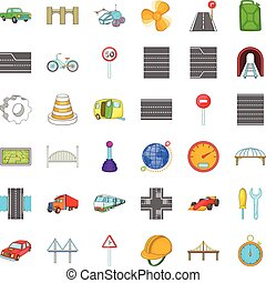 Speed road icons set, cartoon style