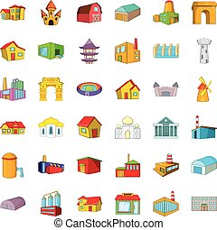 City building icons set, cartoon style - City building icons...