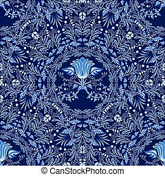 Dark blue floral seamless pattern of circular ornaments with...