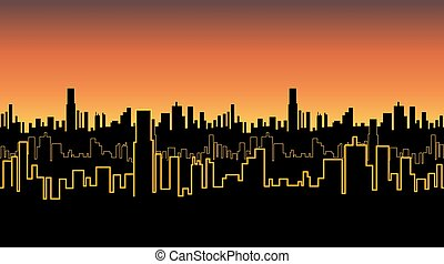 Seamless band of the city at sunrise or sunset with yellow neon color. Vivid glow of the contours of tall buildings.