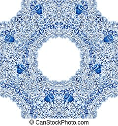Blue Russian or Chinese porcelain seamless pattern with...