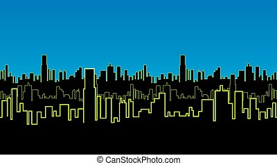 Seamless strip of the city at night with green neon color. Vivid glow of the contours of tall buildings.