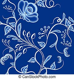 Continuous pattern of interwoven flowers. Dark blue...