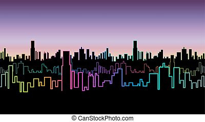 Seamless header of the city at night with versicolor neon color. Vivid glow of the contours of skyscrapers.