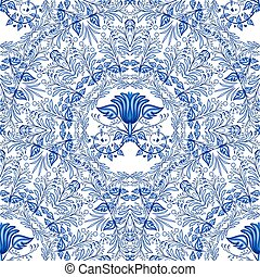 Seamless blue pattern. Repeating floral pattern of circular...