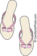 Pink tongs - Vector illustration of beach shoes, EPS 10 file
