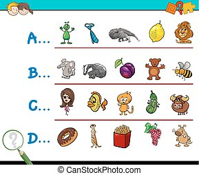 first letter of a word activity game - Cartoon Illustration...