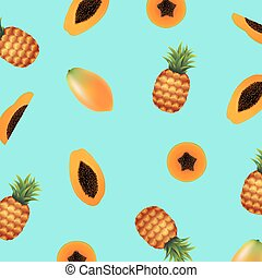 Papaya With Pineapple Background