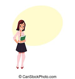 Student, pupil, girl in school uniform with a book