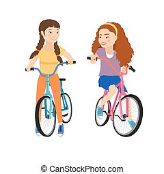 Two smiling girls on bicycles isolated .Girl friendship