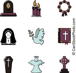 Funeral home icons set, flat style - Funeral home icons set....