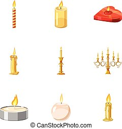 Holiday candles icons set, cartoon style