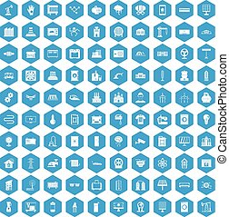 100 electrical engineering icons set blue