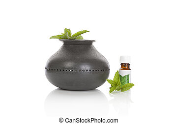 Aroma lamp with mint essential oil.