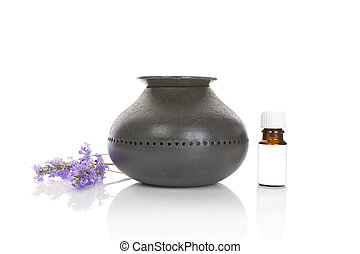 Lavender aromatherapy with aroma lamp and lavender flowers,...