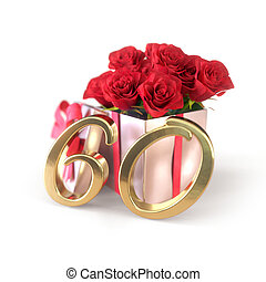 birthday concept with red roses in gift isolated on white...