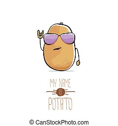 vector funny cartoon cute brown potato isolated on white...