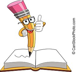 Pencil Mascot thumb up open book isolated
