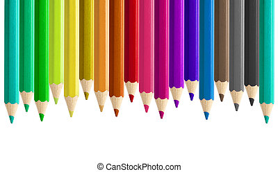 Set misaligned coloured pencils side by side seamless...