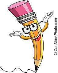 Pencil mascot arms up isolated