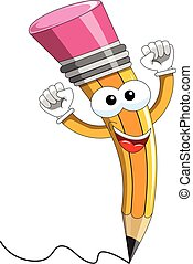 Pencil Mascot cartoon exulting isolated