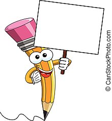Pencil Mascot cartoon blank banner isolated