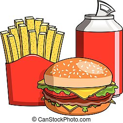 Hamburger french fries coke can isolated