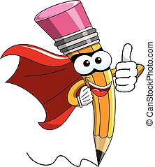 Pencil Mascot cartoon superhero thumb up isolated