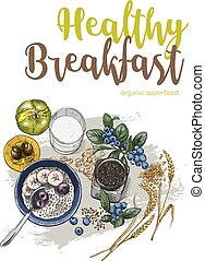 Healthy breakfast, full color vector realistic sketch poster...