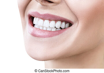 Close-up of smile with white healthy teeth.