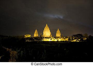 Prambanan Temple at Night, Yogyakarta, Indonesia - Night...