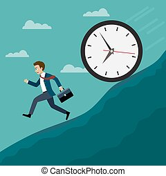 Businessmen run away from the big clock. Business concept,...