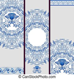 Set of banners or backgrounds based on ethnic painting on...