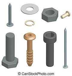 Set of fasteners in 3D, vector illustration. - Set of...