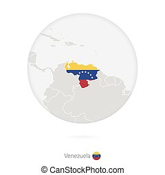 Map of Venezuela and national flag in a circle. Venezuela...