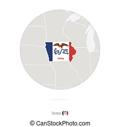 Map of Iowa State and flag in a circle.