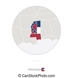 Map of Mississippi State and flag in a circle.