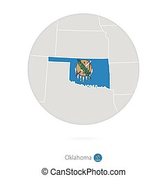 Map of Oklahoma State and flag in a circle.
