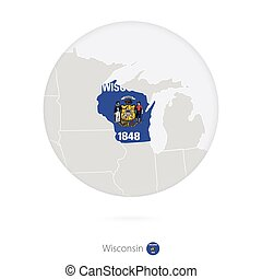 Map of Wisconsin State and flag in a circle. Wisconsin US...