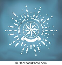 Sailing badge with wind rose compass, ribbon