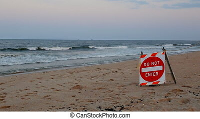 Ocean stop sign is not allowed to swim - Do not swimming...