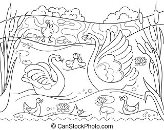 Childrens coloring book cartoon family of Swan on nature....