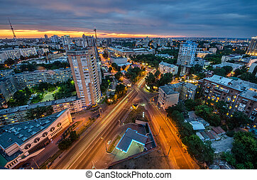 Night Kiev cityscape - Cityscape of Night Kiev view, evening...