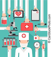 Medical blood analysis flat design with doctor in the...