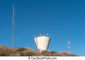 Water reservoir and telecommunications towers in the centre...