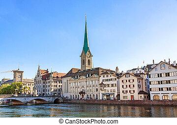 Minster Fraumunster, Zurich - Church Fraumunster in Zurich,...