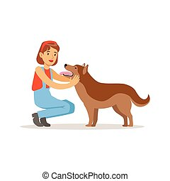 Farmer woman with her dog, vector Illustration