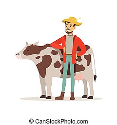 Farmer man caring for his cow, farming and agriculture vector Illustration