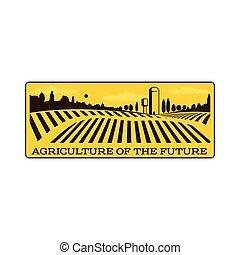 Horizontal farm fields logo, badge, label